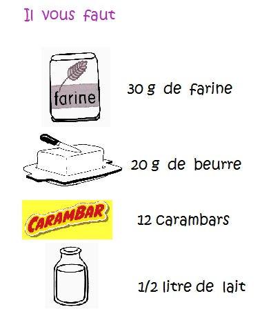 ingrédients crème carambar