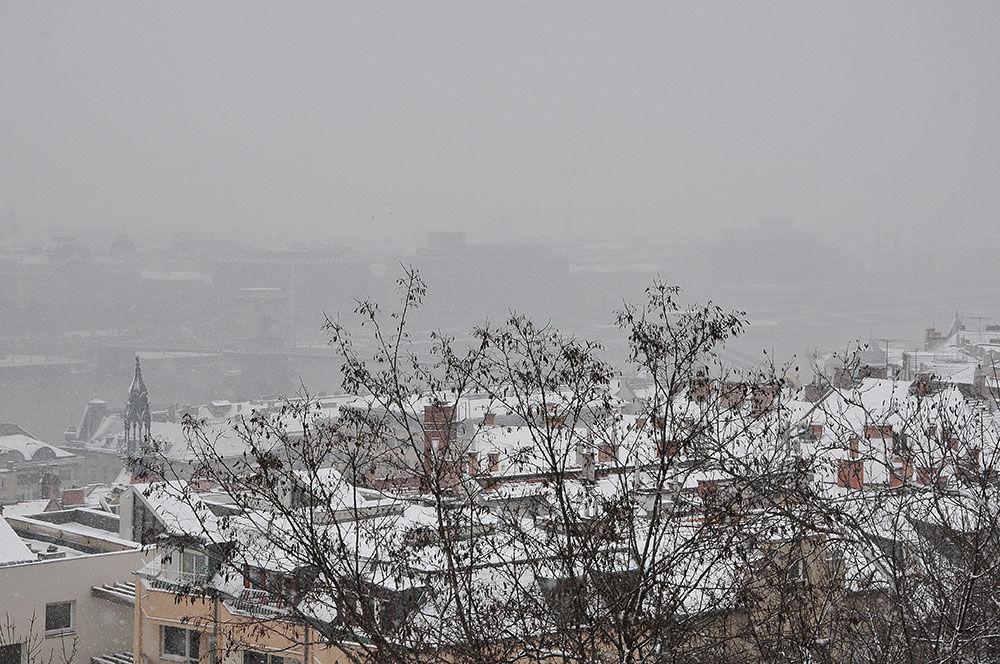 panorama de Budapest sous la neige
