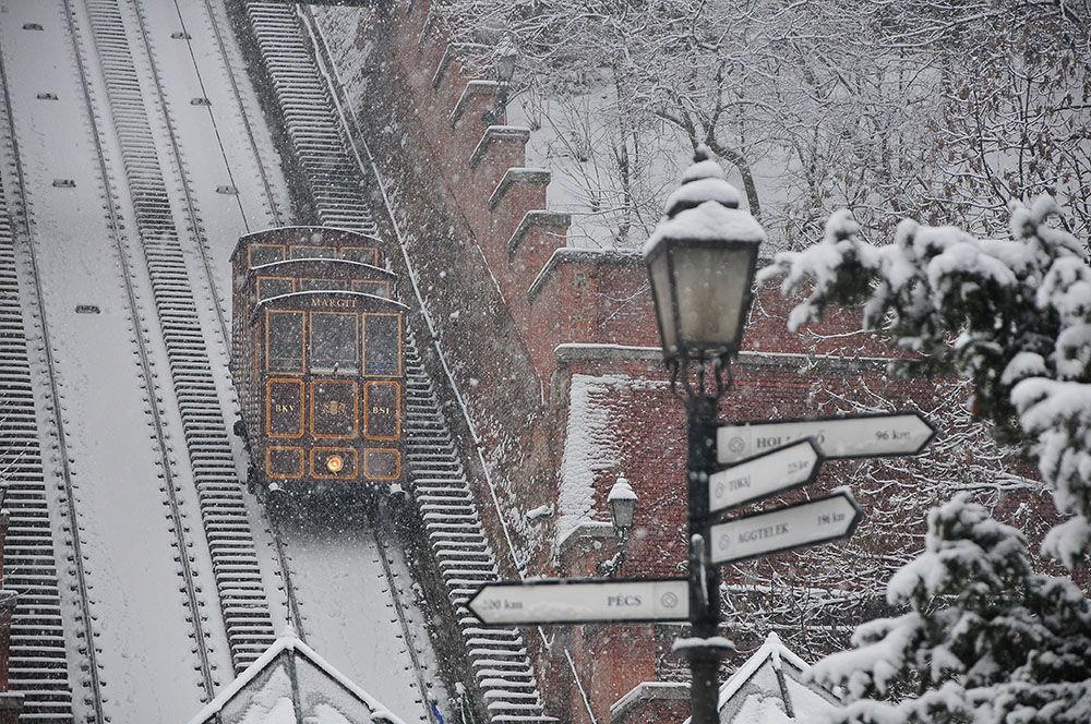 A Budapest, 2 funiculaires électriques se relaient pour amener leurs passagers aux extrémités hautes et basses de la colline.