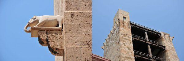 quartier du Castello, Cagliari, Sardaigne, tour saint-pancrace et tour de l'éléphant