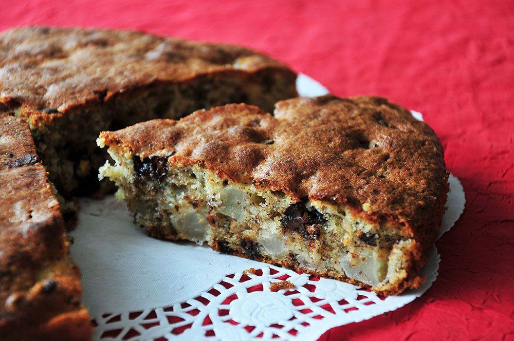 cake poire noisettes pépites de chocolat