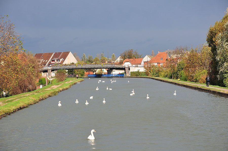 Sur les canaux, quelques centaines de mètres avant Strasbourg...