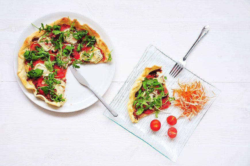 tarte roquette tomates chèvre