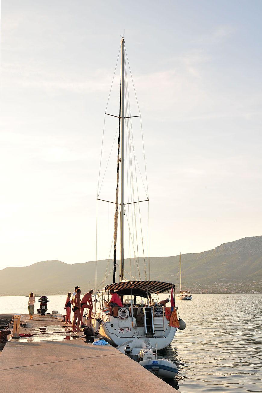 coucher de soleil sur le port de split