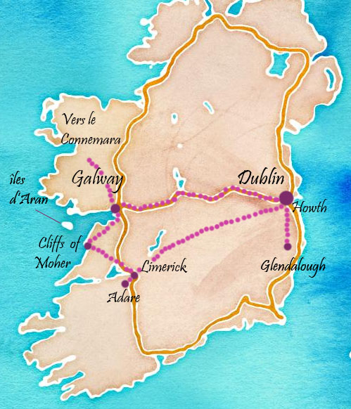 idée d'itinéraire en irlande: dublin, glendalough, galway, connemara, cliffs of moher