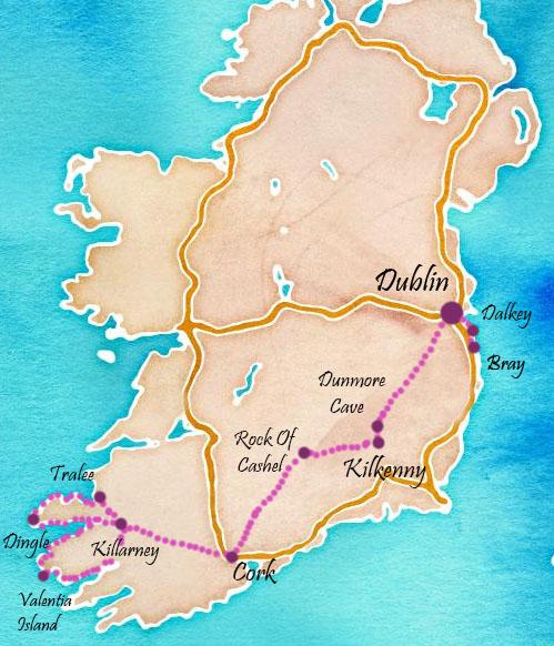 itinéraire en irlande du sud: cork, rock of cahel, dingle bay, ring of kerry
