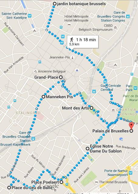 itinéraire centre ville bruxelles