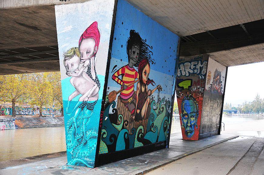 street-art à Vienne le long des rives du danube