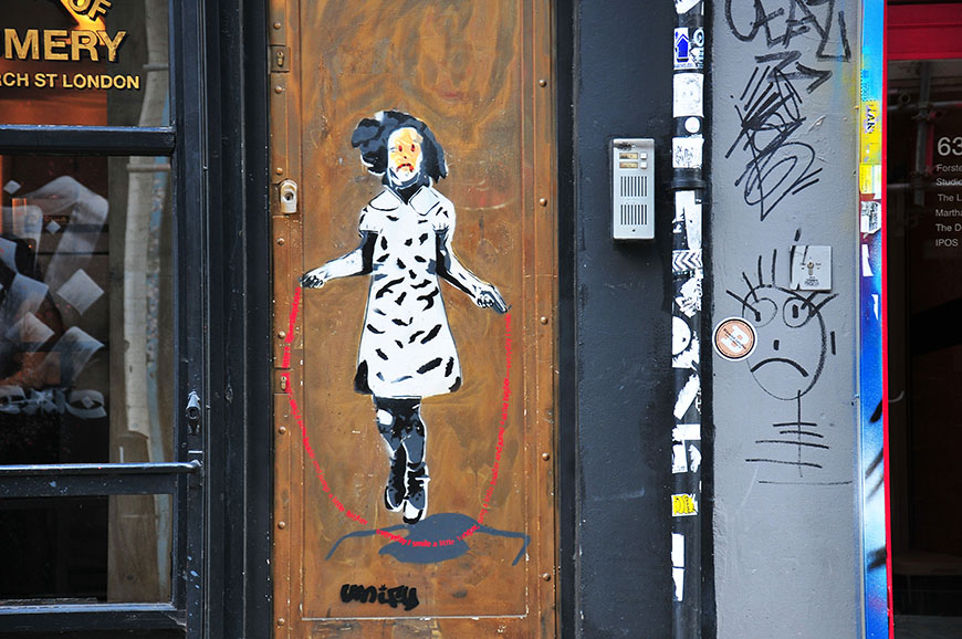 street-art dans le quartier de shoreditch à londres