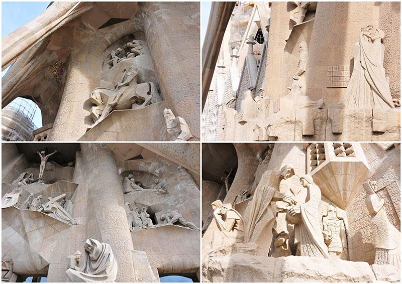 visite de la sagrada familia à barcelone, détails de la façade