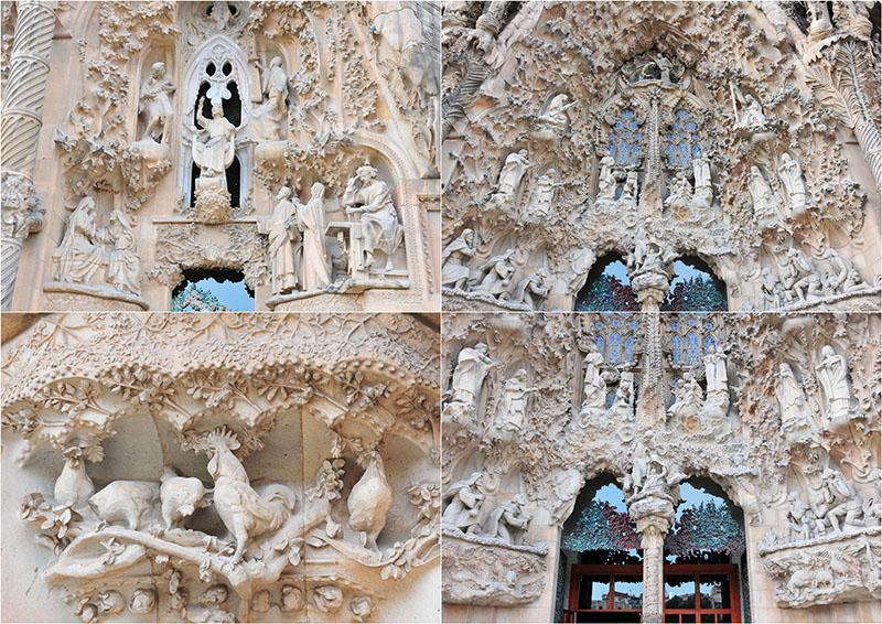 visite intérieure de la sagrada familia façade de la nativité