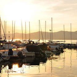 coucher de soleil, marina de Split, Croatie