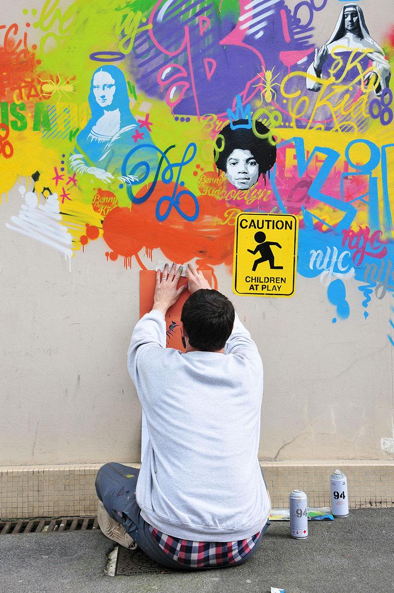 "benny the kid, street-art, rue dachery, festival ""Ceci n'est pasun tag 2"" à Saint-Quentin"