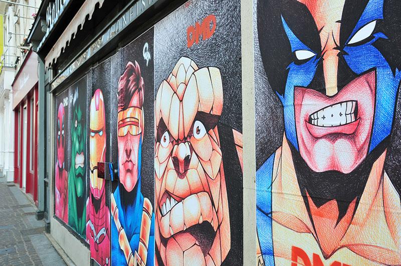 gaetan antoine, boulangerie laroche rue emile zola, ceci n'est pas un tag 2, festival street art à saint-quentin, personnages marvel