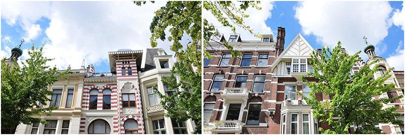 A Amsterdam, dans le MuseumQuarter, il existe une rue relativement insolite, Roemer Visscherstraat, avec sept maisons appelées Zevenlandenhuizen représentant la France, l'Allemagne, la Russie, l'Italie, l'Angleterre, l'Espagne et les Pays-Bas... Les noms des pays sont inscrits sur les façades mais il est amusant d'essayer de les deviner aux particularités de leur architecture!
