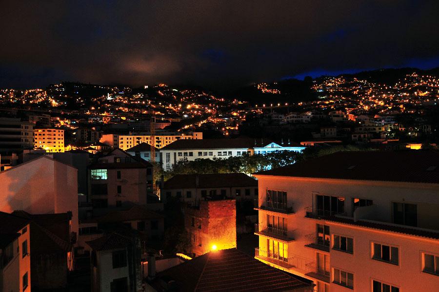 funchal de nuit, panorama depuis l'hôtel windsor