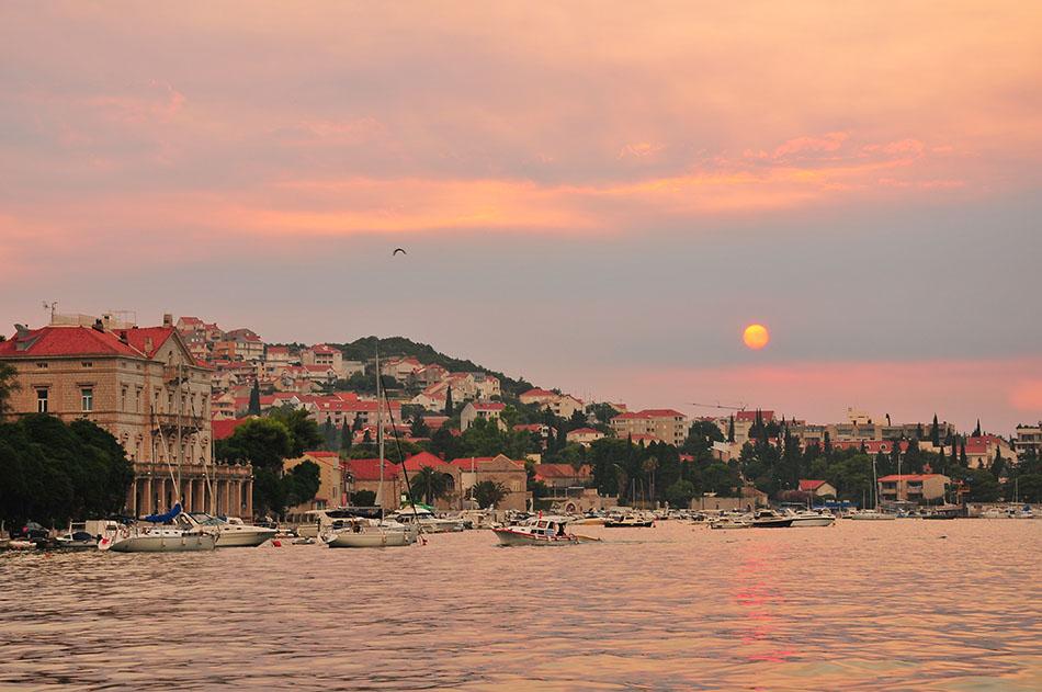 coucher soleil, marina, dubrovnik