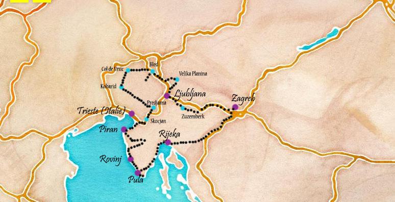 carte itinéraire road trip en croatie et slovénie