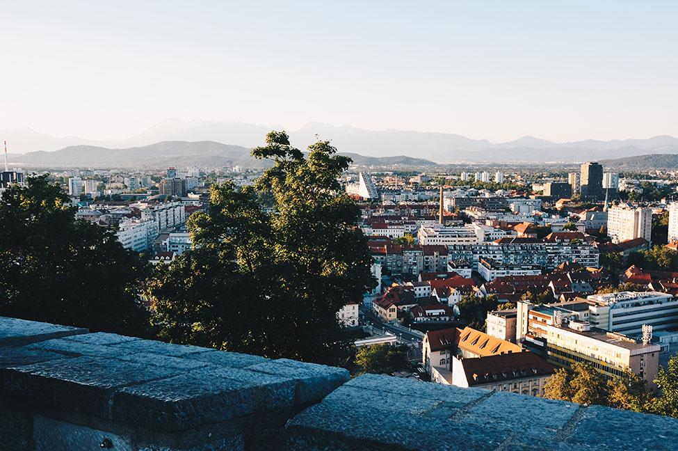Grajska Planota, vue depuis la colline du château, road-trip en slovénie, Ljubljana