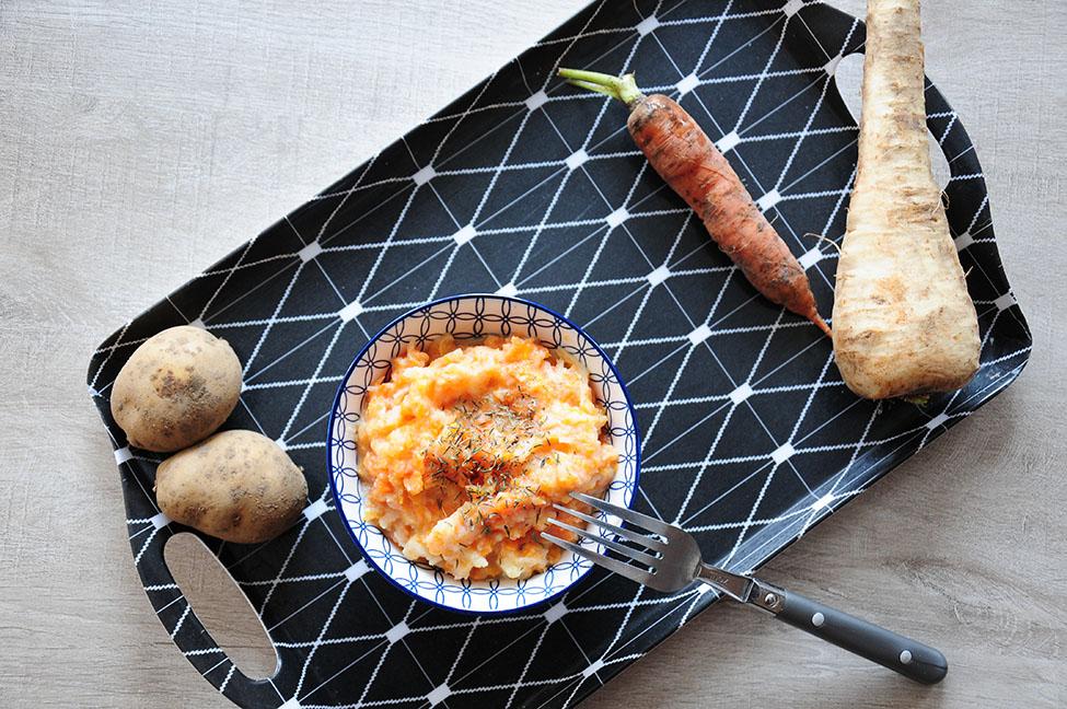 recette purée de panais, carottes et pommes de terre