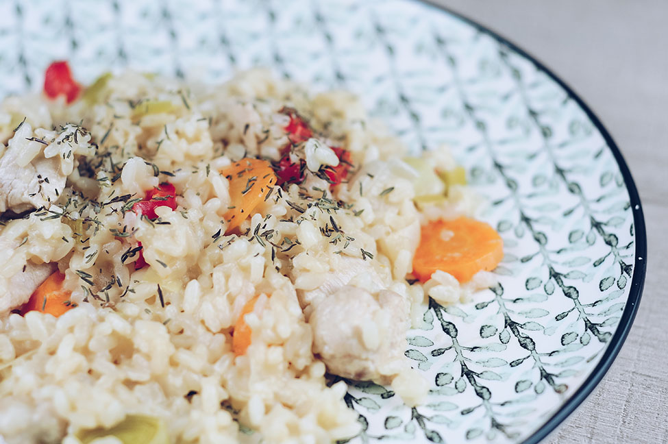 risotto aux légumes et au multicuiseur moulinex