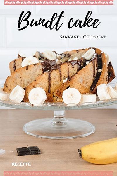 recette bundt cake à la banane et au chocolat