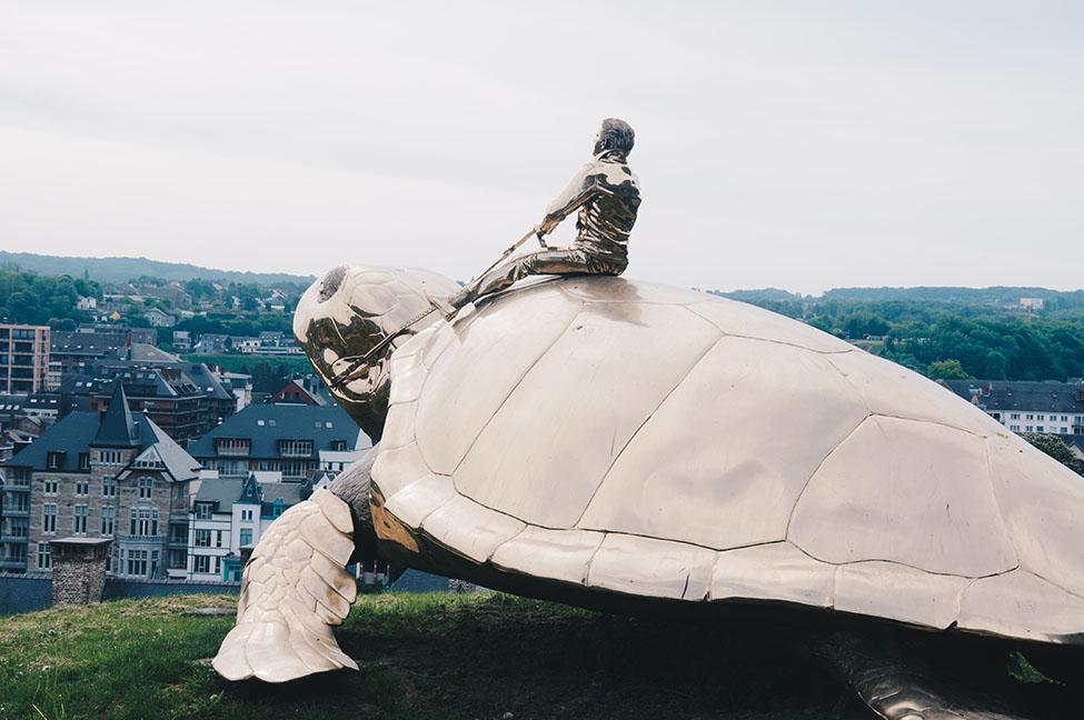 week-end à Namur, et vue sur la ville depuis la citadelle, tortue