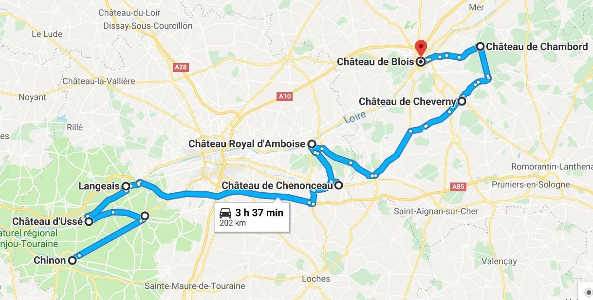 itineraire chateaux de la loire