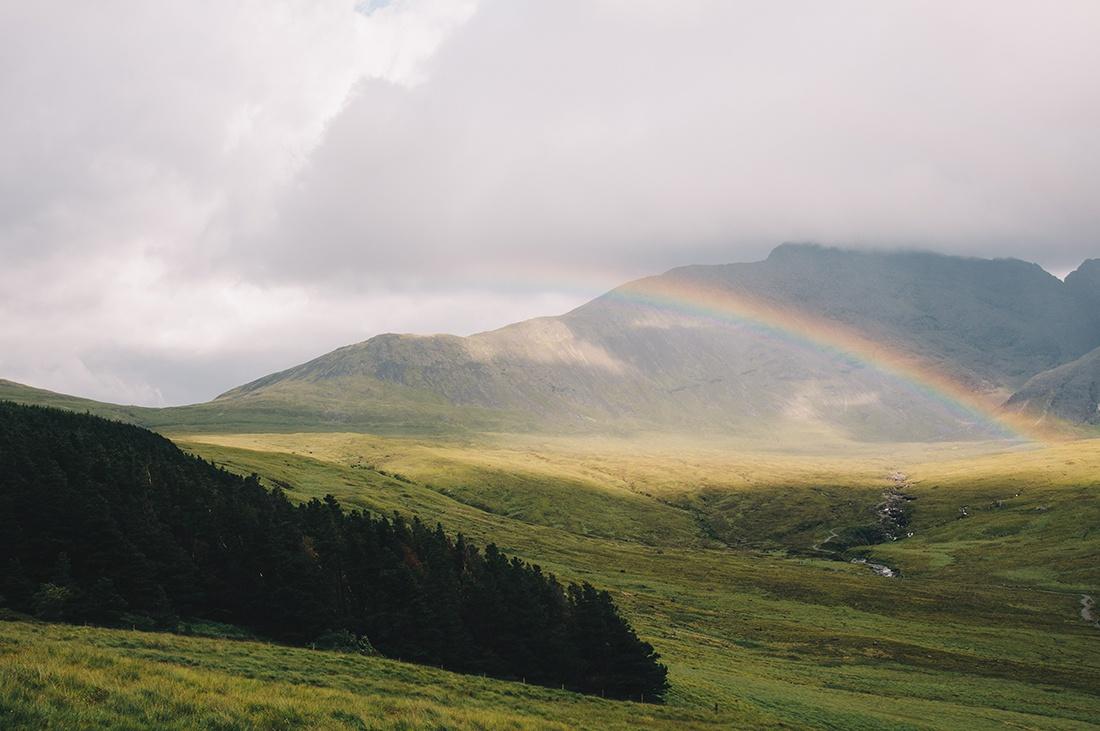 randonnée Fairy Pools, île de Skye, arc-en-ciel