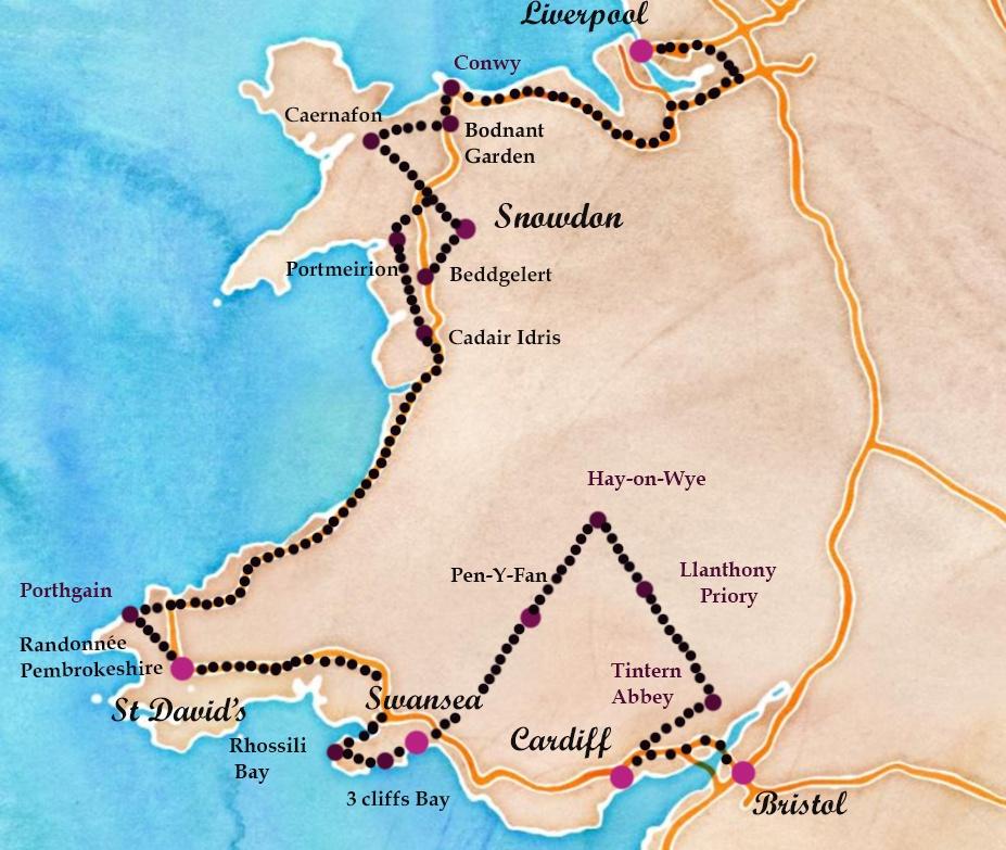itineraire d'un road trip de 7 jours au Pays de Galles