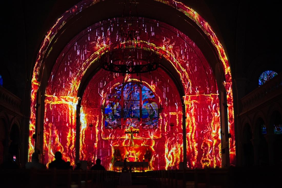 mapping-vidéo de l'église Saint-Amé à Liévin