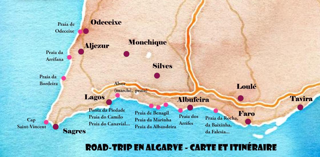 itinéraire et carte pour un road-trip en algarve