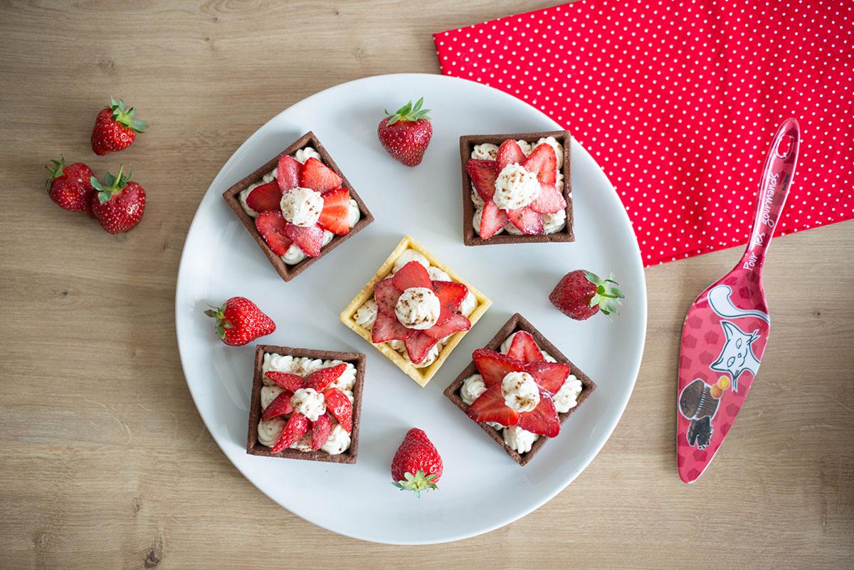 Recette facile et rapide : tartelettes fraises, mascarpone, pâte sablée au chocolat