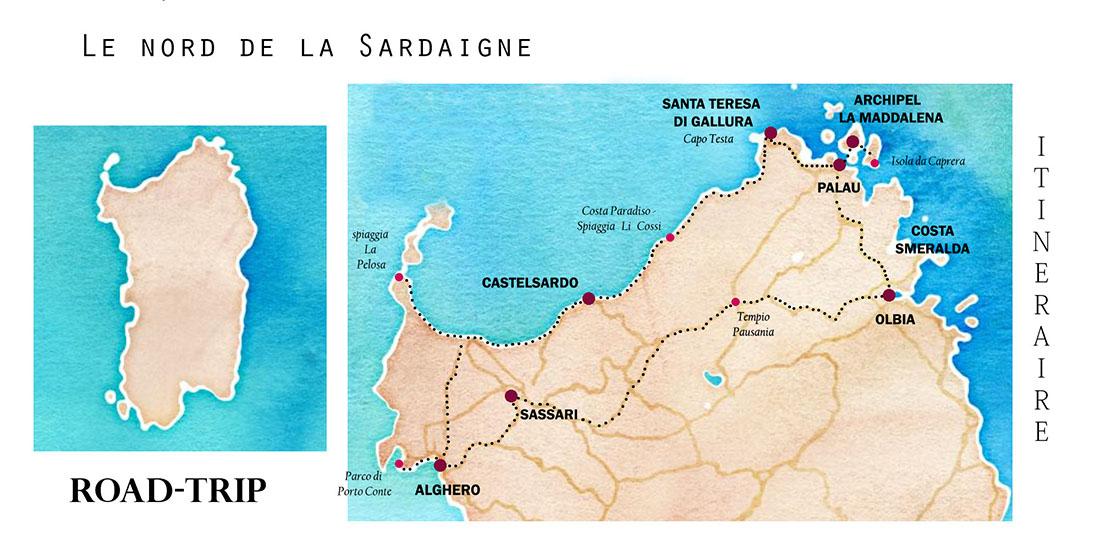 itinéraire de road-trip pour une semaine dans le nord de la Sardaigne