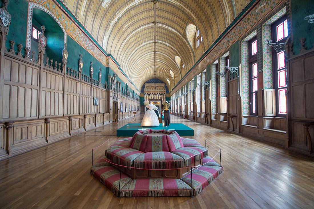 salle des preuses, château de pierrefonds, exposition eugénie et la mode