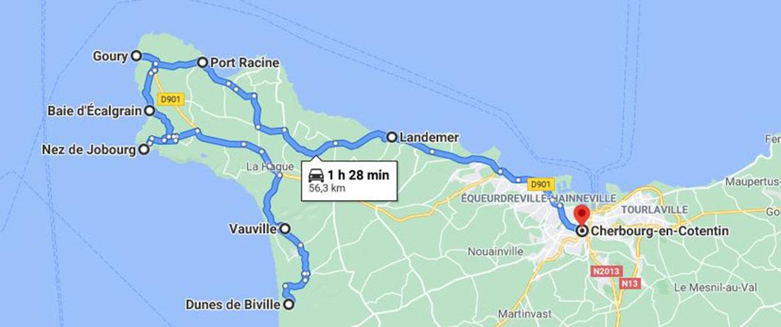 itinéraire d'un week-end autour du cap de la hague et de cherbourg